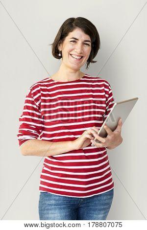 Adult Woman Using Digital Tablet Studio