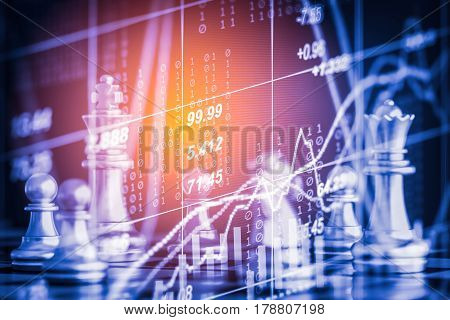 Business Game On Digital Stock Market Financial And Chess Background. Digital Business And Stock Mar