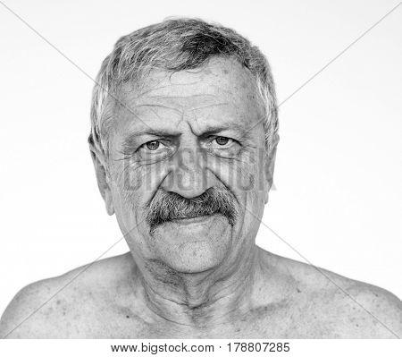 Senior adult man bare chest naked studio portrait