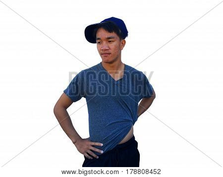 asian man with lifestyle on a white background