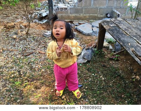 asian girl child with funny and joke face