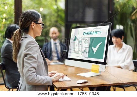 People with illustration of quality product warranty assurance