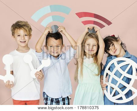 Children Connection Internet Wifi World Studio Portrait