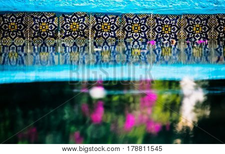 Swimming pool talavera and reflections in the water