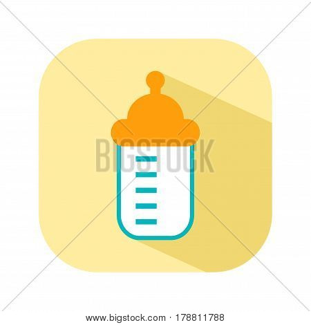 Bottle with a nipple for feeding. Flat color icon things for the newborn baby. Vector