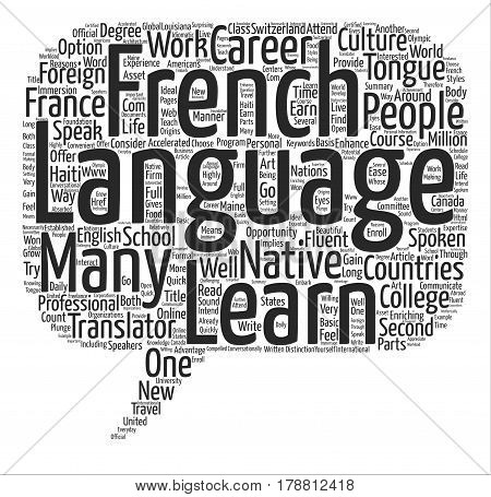 Learn the French Language text background word cloud concept