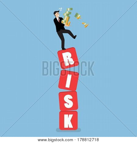 Businessman carrying his money on shaky risk blocks. Investment risk concept