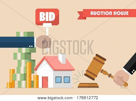 Buying selling house from auction. Vector illustration