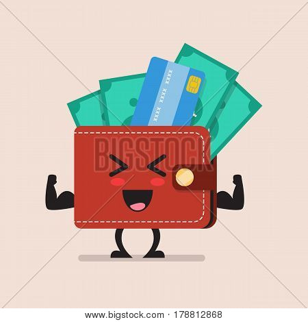 Strong wallet character. Financial strength concept cartoon