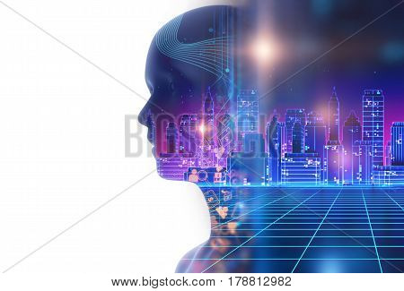 Double Exposure Image Of Virtual Human 3D Illustration