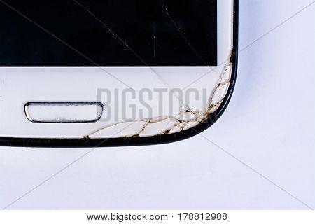 Broken phone screen , broken mobile phone isolated