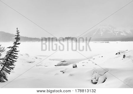 Foggy winter landscape of the untouched snow over the frozen Kananakis Lake.