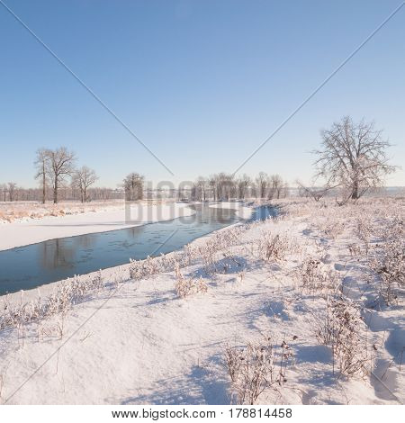 Winter landscape of fresh snow along the banks of the Bow River in Calgary Canada.