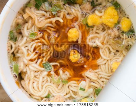 Instant noodle boiled in hot water withe sauce