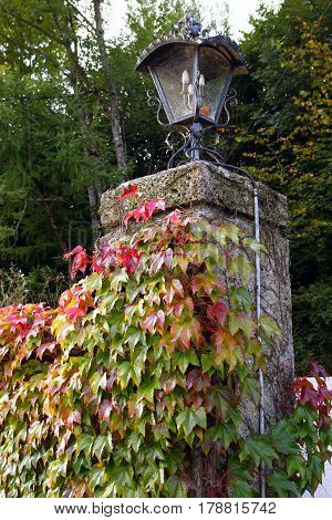 Travel To Sankt-wolfgang, Austria. The Lantern On The Stones Column With Green And Red Leaves Of Lia