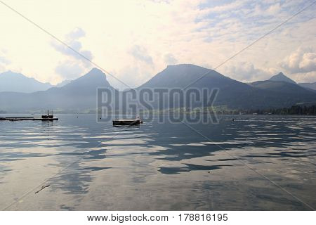 Travel To Sankt-wolfgang, Austria. The View On The Lake Wolfgangsee Near To Mountains In Sunny Day.