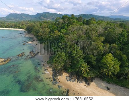 Aerial view of beauty nature tropical landscape with beach, rocks and sea in Khao Lak, Thailand