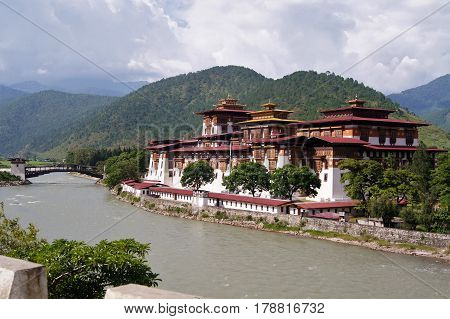 The Punakha Dzong, whicb mean the palace of great happiness or bliss, is located in Punakha, Bhutan.