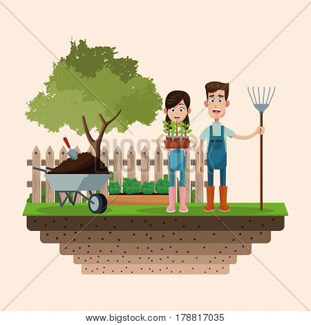 couple farmers with pitchfork and pot plant badge vector illustration