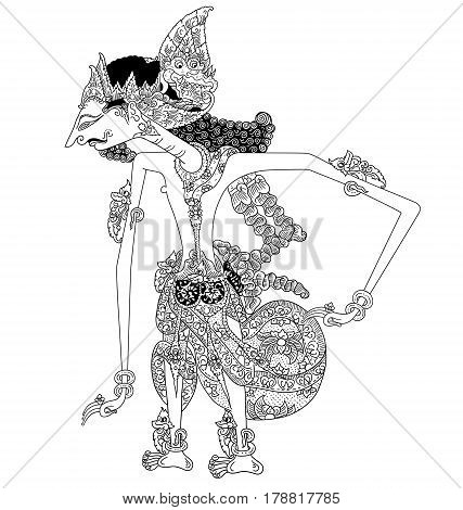 Basunanda, a character of traditional puppet show, wayang kulit from java indonesia.