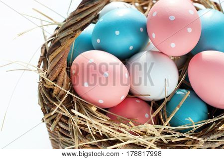 Easter Eggs Basket Painted Pink Blue Colors Dots