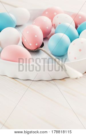 Eggs Painted Pastel Colors And Peas