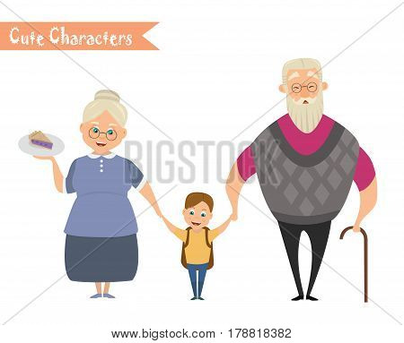 Grandfather grandmother and grandson together. Happy family