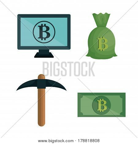 bitcoins trading flat icons vector illustration design