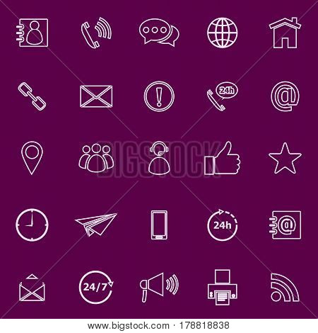 Contact us line color icons on purple background, stock vector