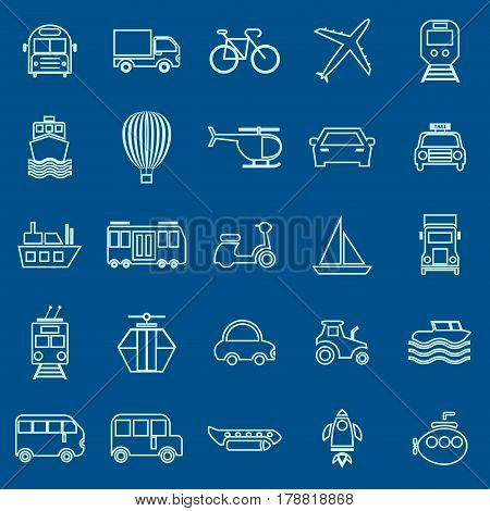 Transportation line color icons on blue background, stock vector