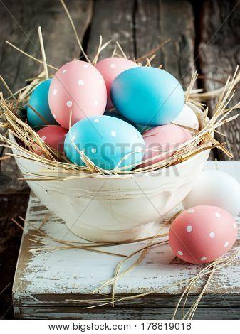 Easter Eggs In A White Shabby Bowl