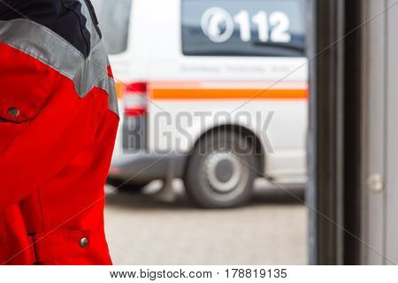 a red jacket from a german paramedic