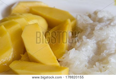 Fresh mango with sweet coconut sticky rice - traditional thai dessert