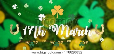 Print against st patricks day leprechaun hat shamrocks and chocolate gold coins