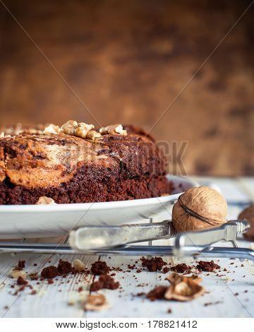 Chocolate Pie Brownie With Walnuts