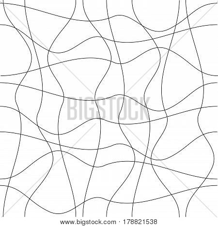 seamless pattern with black lines curved on white background