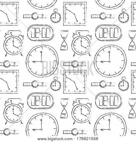 Abstract seamless pattern with different doodle sketch watches