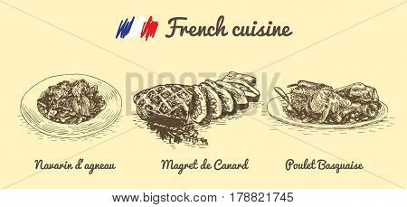 French menu monochrome illustration. Vector illustration of French cuisine.