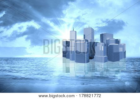 Three dimensional image of modern buildings against sunrise over magical sea 3d