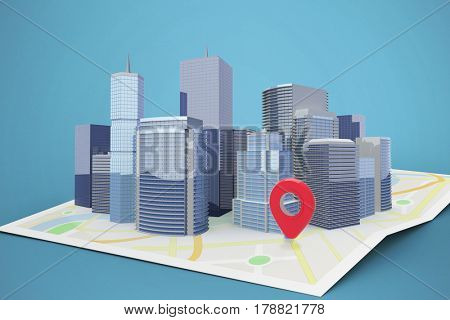 Three dimensional image of modern buildings against blue 3d