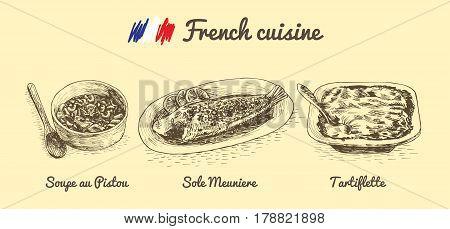 French menu monochrome illustration. Vector illustration of French cuisine.
