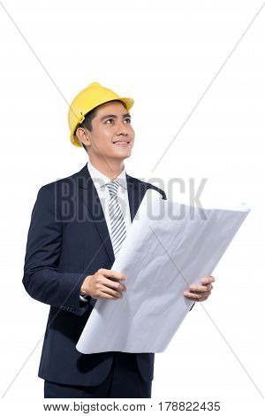 Young Aisan Handsome Architect Working Over White Background