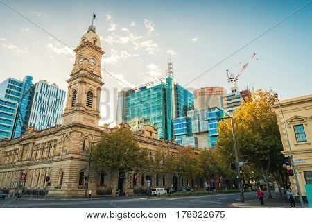 Adelaide Australia - May 1 2016: Adelaide GPO Post Shop with tower bell located at Victoria Square in CBD on a day