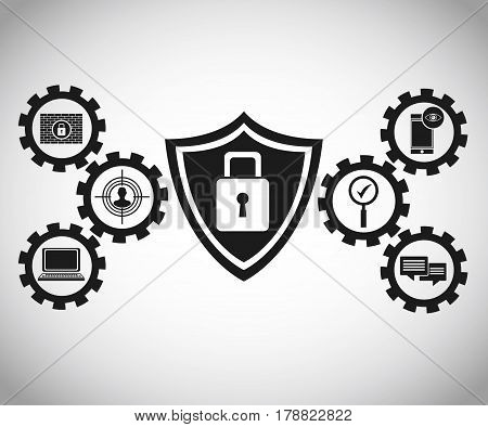 technology protection cyber padlock vector illustration eps 10