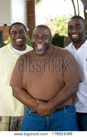 African American father and his two sons.