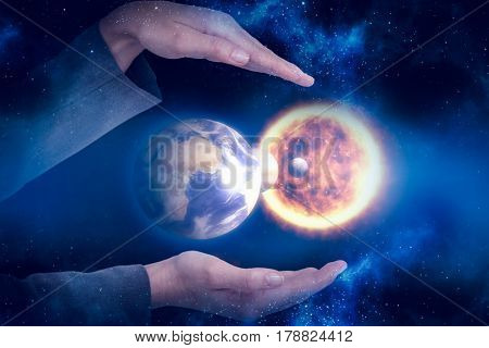 Businesswoman hand gesturing against white background against digital composite image of solar system 3d
