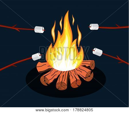 Bonfire with marshmallow. Logs and fire. Camping, burning woodpile in night. Vector illustration in flat style