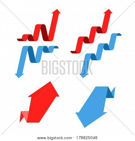 Increase recession growth decline success business flat concept illustration. Graph arrows depict increase decrease business. Vector template element for infographic web presentation networks.