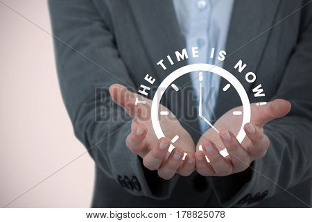 Businesswoman gesturing against white background against vignette 3d