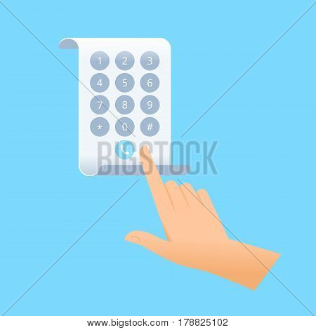Human hand is dialing number on the screen of flexible smart phone. Flat vector illustration of future smartphone. Innovation technologies concept. Design element for presentation web infographics.